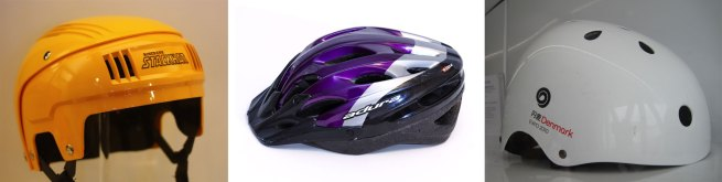 Three bicycle helmets: an Australian Stackhats, a modern soft-shell helmet and a hard-shell helmet