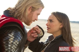 Natalie Portman and Chris Hemsworth in the movie Thor