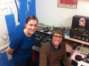 Dr Katherine Kirk with Chris in the Lost in Science studio at 3CR