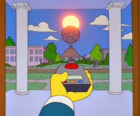 Screenshot of Mr Burns blocking out the sun in The Simpsons